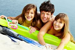 Friends on sea shore Stock Photos