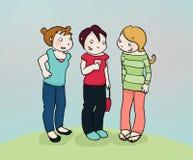Friends' secret. Three teen friends. digital colors Stock Photos