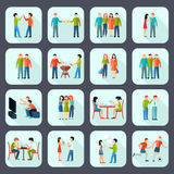 Friends Shadow Icons Set Royalty Free Stock Photography