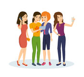 Friends share information, memories with each other after their travels. Royalty Free Stock Image