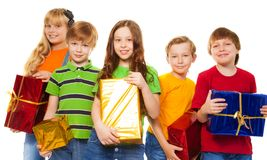 Friends sharing Christmas gifts Royalty Free Stock Images