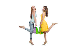 Friends with shopping bags isolated Royalty Free Stock Images