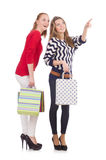 Friends with shopping bags isolated Stock Image