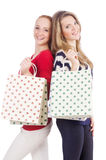 Friends with shopping bags isolated Stock Images