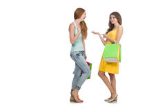 Friends with shopping bags isolated Royalty Free Stock Photo