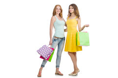 Friends with shopping bags isolated Stock Photo