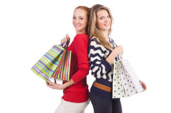 Friends with shopping bags isolated Royalty Free Stock Photography