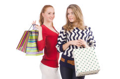 Friends with shopping bags isolated Royalty Free Stock Image