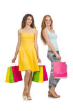 Friends with shopping bags isolated Stock Photos