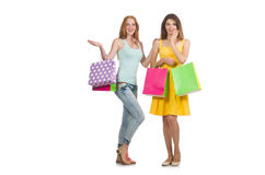 Friends with shopping bags isolated Stock Photography