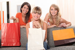 Friends with shopping bags Stock Photo