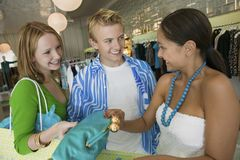 Friends Shopping at Clothing Store Stock Photo