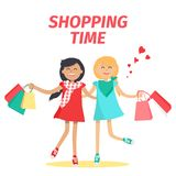 Friends Shopping Time Flat Vector Concept. Shopping time with friend concept. Two cheerful girl characters with colorful shopping bags flat vector on white Royalty Free Stock Photography