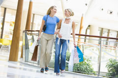 Friends shopping together. Carrying bags Stock Image