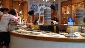 Friends shopping together in a jewelry store stock video footage