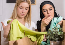 Friends after shopping. Two pretty female friends after successful shopping Royalty Free Stock Images