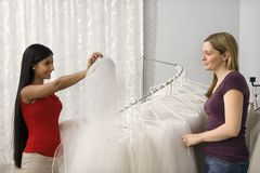 Friends shopping for veils. Stock Image