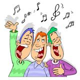 Friends singing cartoon. A few happy gays singing celebrate something stock illustration