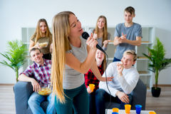 Friends singing a song together Royalty Free Stock Photo