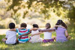 Friends sitting with arms around on grassy field in forest Stock Photography