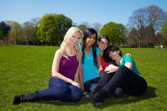 Friends sitting in a park Royalty Free Stock Image