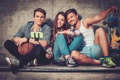 Friends with with skateboard taking selfie Royalty Free Stock Image