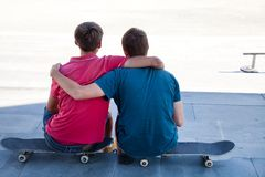 Friends skateboarders Stock Photo
