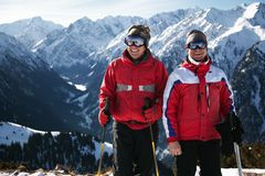 Friends at the ski resort stock photos