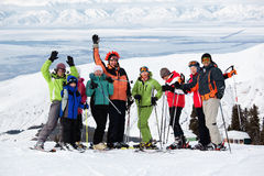 Friends at the ski resort. Group of friends, enjoying at mountain ski resort Stock Photos