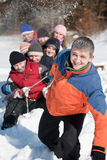 Friends sliding. And having fun in winter Stock Image