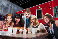 Friends Smiling Near Food Truck Stock Images