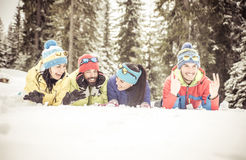 Friends on the snow stock images