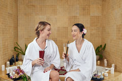 Friends in spa salon Stock Photo
