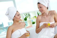 Friends in spa salon Stock Photos