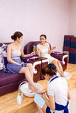 Friends in spa salon Stock Images