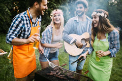 Friends spending time in nature and having barbecue royalty free stock photo