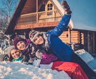 Friends spending winter holiday Stock Photo