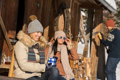 Friends spending winter holiday on mountain cottage Royalty Free Stock Photos