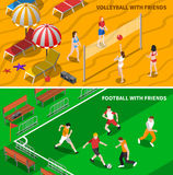 Friends Sport 2 Isometric Banners Composition Royalty Free Stock Image