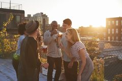 Friends stand talking at rooftop party, backlit by sunlight stock images
