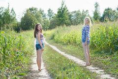Friends standing on farm field road Royalty Free Stock Images
