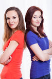 Friends standing with founded hands Royalty Free Stock Images
