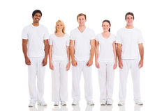 Friends standing white Royalty Free Stock Photos