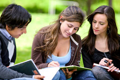 Friends or students smiling Stock Photos