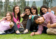 Friends or students smiling Stock Photo