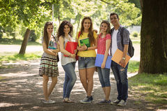 Friends or students smiling Royalty Free Stock Image