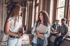Friends and study partners! Group of college students standing together and chatting on the university hall.  royalty free stock image