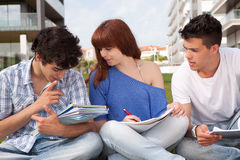 Friends studying. Group of friends studying at the park Royalty Free Stock Photography