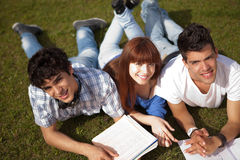 Friends studying. Group of friends studying at the park Royalty Free Stock Photos