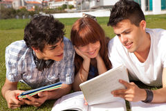 Friends studying. Group of friends studying at the park Stock Photo